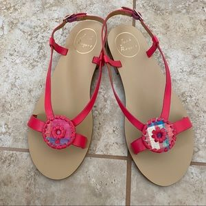 NEW Jack Rogers molly madras leather sandals 6.5